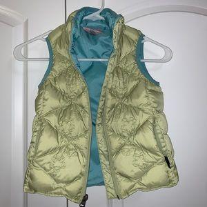 REI Co-op girls down vest green aqua GREAT COND